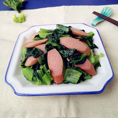 碧绿小白菜炒肉肠