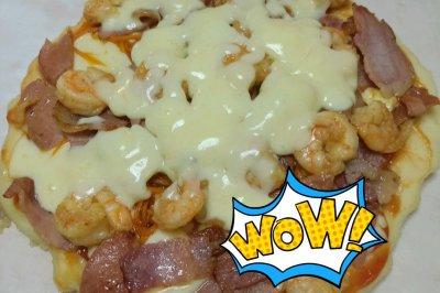 不用烤箱都能做滴海鲜披萨鸭