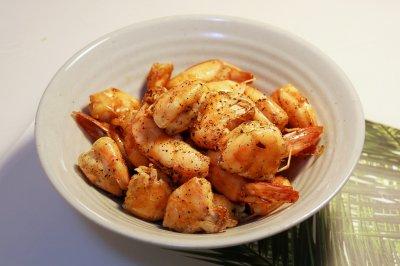 健康低卡家常菜:黑胡椒炒虾