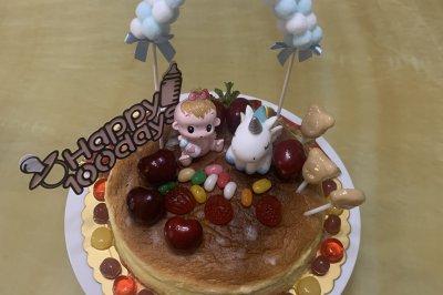 简单装饰的宝宝百天轻乳酪芝士蛋糕