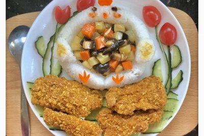 多蔬甜甜圈小鸡炸鸡饭