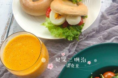 减脂早餐:任意搭配的贝果三明治
